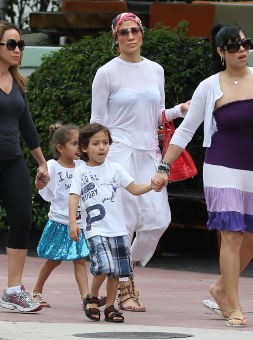 Jennifer Lopez & Her Twins Enjoy The Miami Sun