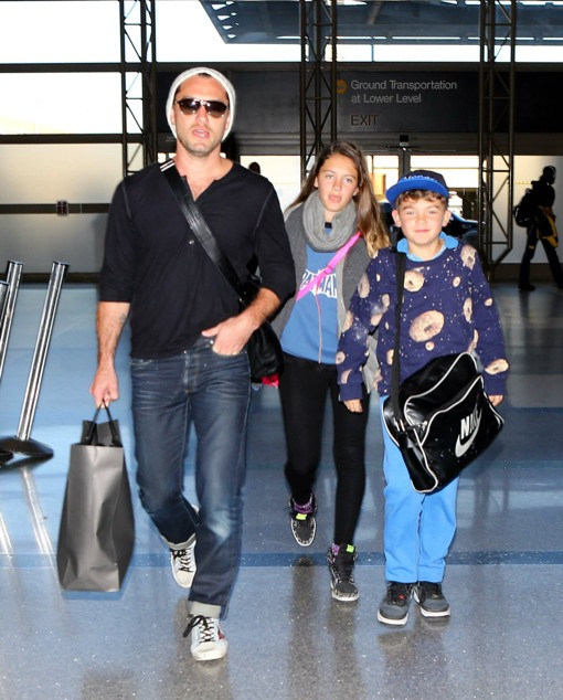 Jude Law Departs With His Kids
