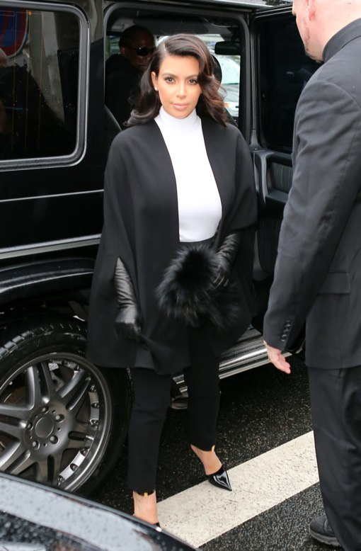 a newly pregnant kim kardashian attends paris fashion week