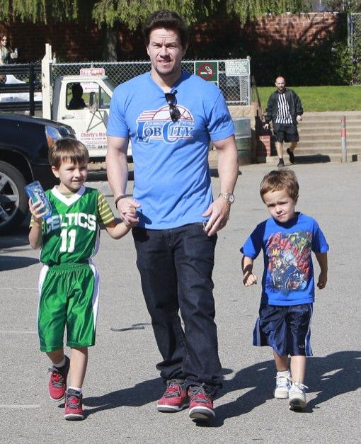Mark Wahlberg Takes His Boys To Play Basketball