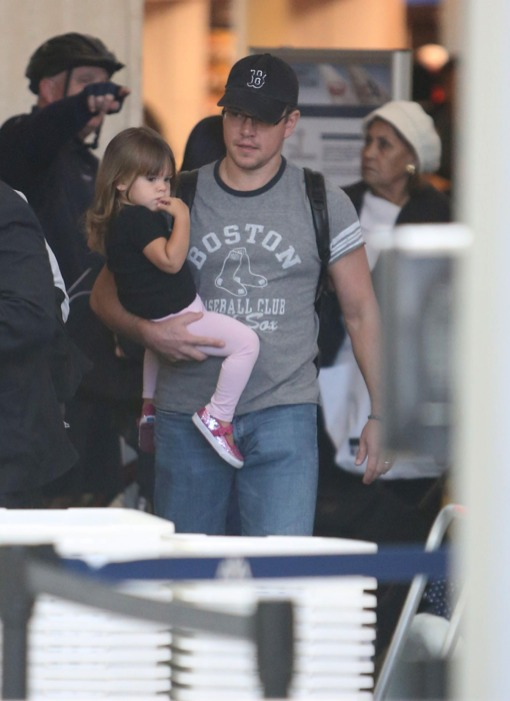 Matt Damon and Daughter Gia Arrive at LAX