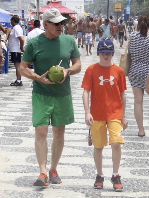 Harrison Ford, Calista Flockhart and son Liam Vacation in