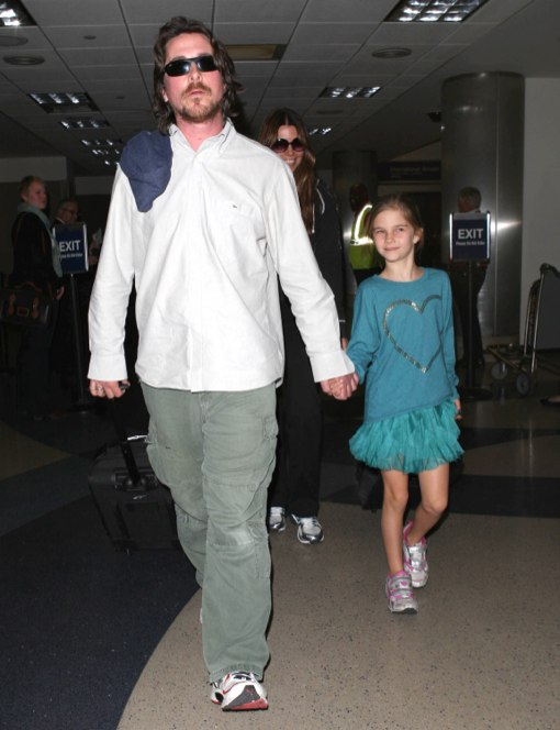 Christian Bale Touches Down With Family