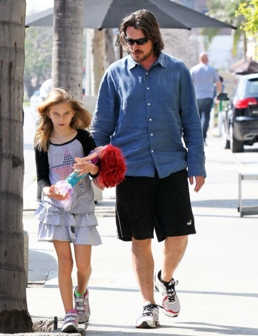 Christian Bale Has Lunch With His Little Mermaid Fan