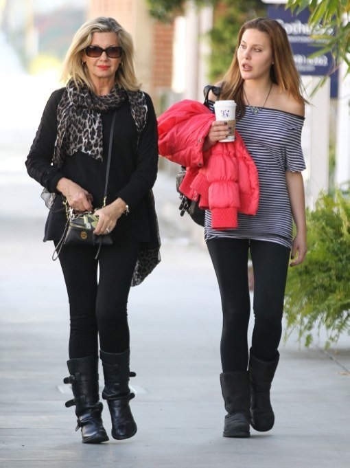 Olivia Newton-John & Chloe Enjoy a Mother-Daughter Day at The Salon