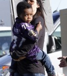 Exclusive... Sandra Bullock & Son Louis Arriving At The Super Bowl
