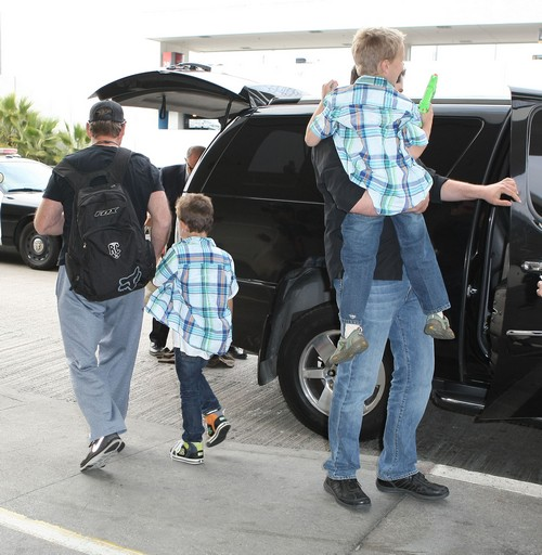 Britney Spears And Her Boys Departing On A Flight At LAX