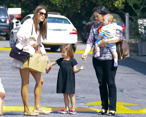 Alessandra Ambrosio And Her Kids Leaving The Country Mart