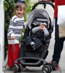Alessandra Ambrosio & Kids Leaving The Brentwood Country Mart