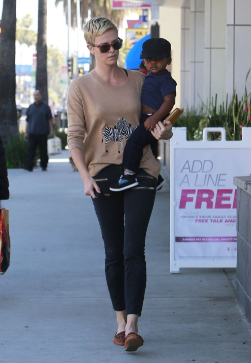 Charlize Theron Takes Her Son Jackson To Pinkberry