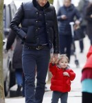 David Beckham Takes His Daughter Harper Out In London