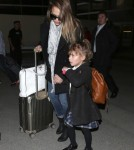 Jessica Alba & Daughter Honor Arriving On A Flight At LAX