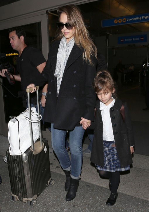 Jessica Alba & Honor Arrive at LAX After Parisian Vacation
