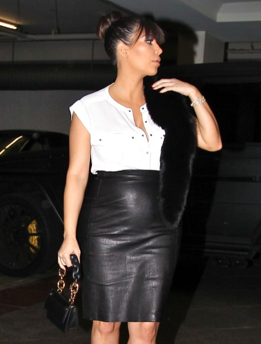 Kim Kardashian Dresses Her Bump In Leather
