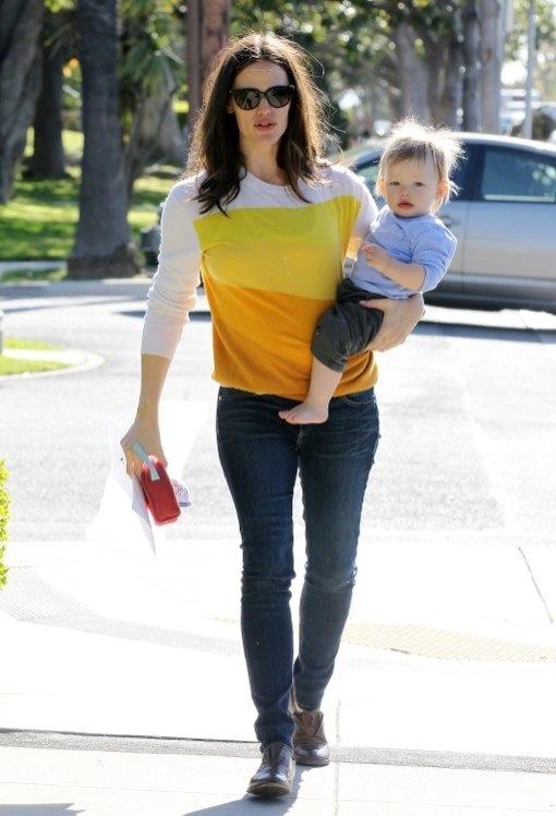 Jennifer Garner Brings Samuel Along While Picking Up Violet From School