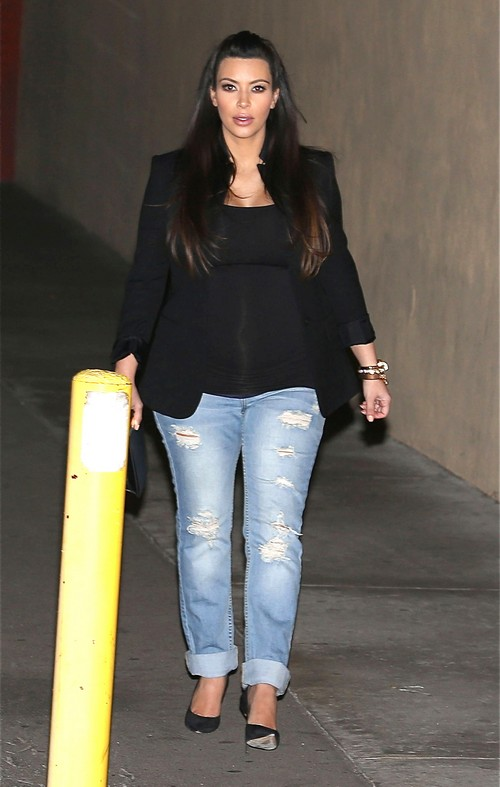 Kim Kardashian Maternity Look: Distressed Jeans Love It Or Hate It?
