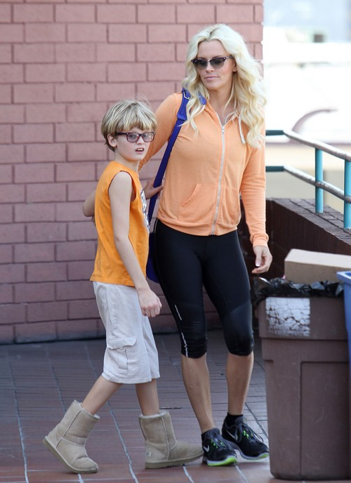 Exclusive…Jenny McCarthy Takes Her Son Evan Along to Pilates Class
