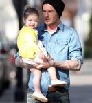 David Beckham Takes Harper Out For A Morning Stroll