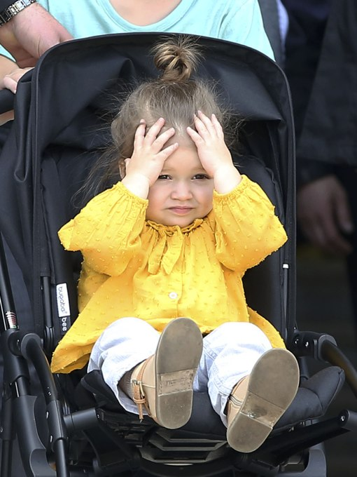 Harper Beckham Makes Funny Faces on Parisian Shopping Trip