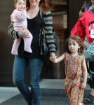 Alyson Hannigan & Family Outside The Trump Soho Hotel