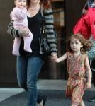 Alyson Hannigan & Family Outside The Trump Soho Hotel