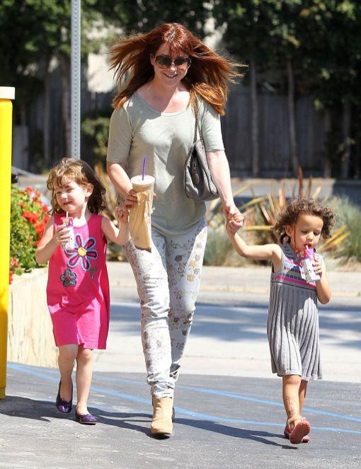 Exclusive... Alyson Hannigan & Daughter Satyana Leaving A Coffee Shop