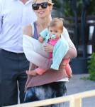 Elsa Pataky & Daughter India Leaving Geoffrey's In Malibu