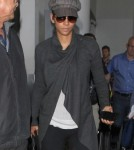 Pregnant Halle Berry Lands At LAX Airport