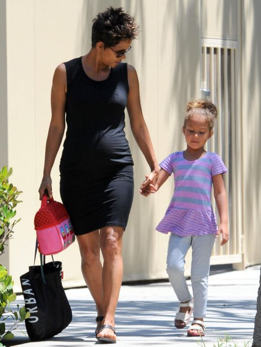 Halle Berry Bumps To School Pick Up