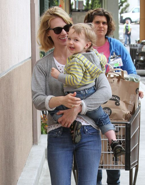 January Jones & Son Xander Grocery Shopping At Whole Foods