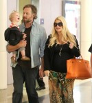 Exclusive... Pregnant Jessica Simpson & Family Arriving On A Flight At LAX