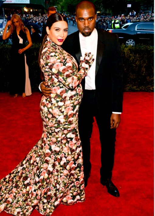Kim Kardashian Bumps In Floral at the Met Costume Institute Gala