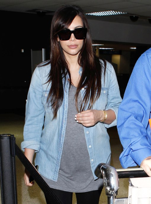 Kim Kardashian Arriving On A Flight At LAX