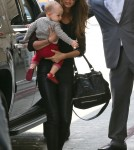 Lilly Aldridge And Her Daughter Departing On A Flight At LAX