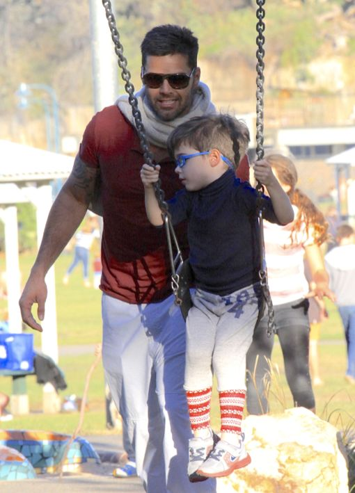 Exclusive Ricky Martin Takes His Boys To The Park