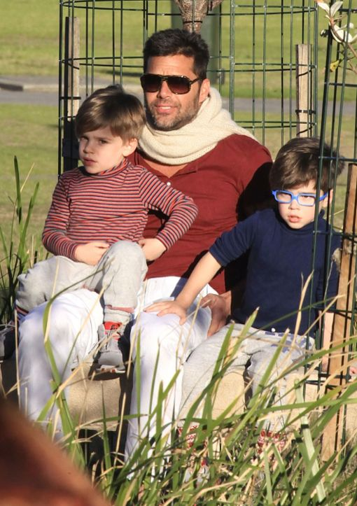 Exclusive... Ricky Martin Takes His Boys To The Park