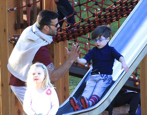 Ricky Martin Takes His Twins to The Park