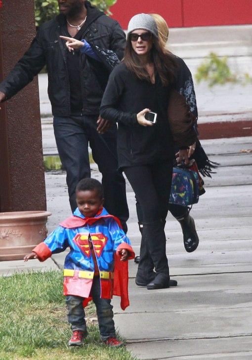Sandra Bullock Picks Up Her Superhero From School