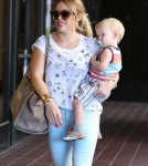 Hilary Duff Picks Luca Up From Babies First Class