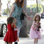 Alyson Hannigan Takes Satyana & Friend To Dinner