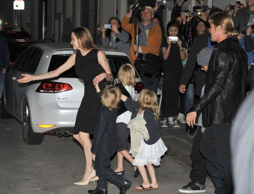 Brad & Angelina Take The Kids Out For Sushi