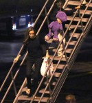 Angelina Jolie & Son Pax Arriving On A Flight At LAX