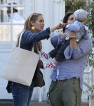 Exclusive... Elizabeth Berkley & Family Leaving The Bretwood Mart