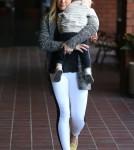 Hilary Duff Picks Luca Up From Babies First Class