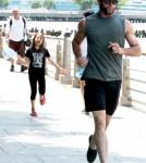 Hugh Jackman And His Daughter Play At Riverside Park