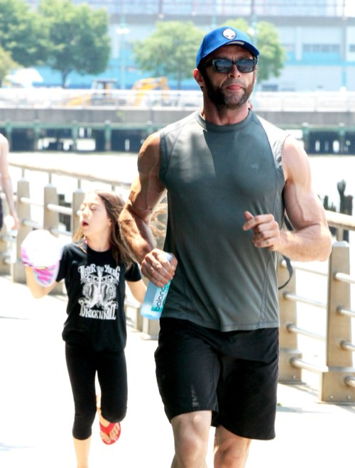 Hugh Jackman And His Daughter Play At Riverside Park