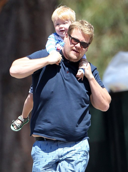 Exclusive... James Corden & Family Enjoy A Day At The Park