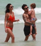 Exclusive... Pete Wentz Hangs Out On The Beach With His Family