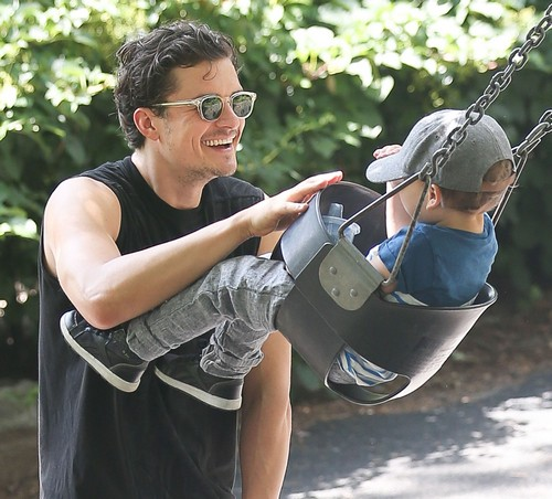 Orlando Bloom and His Son Flynn Have A Day At The Park