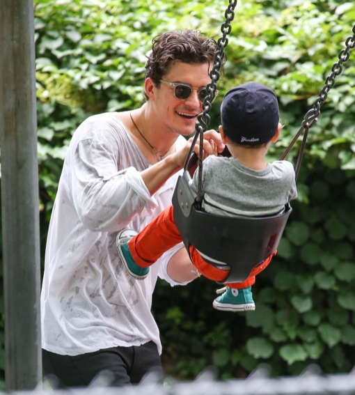 Orlando Bloom Takes Son Flynn To Central Park
